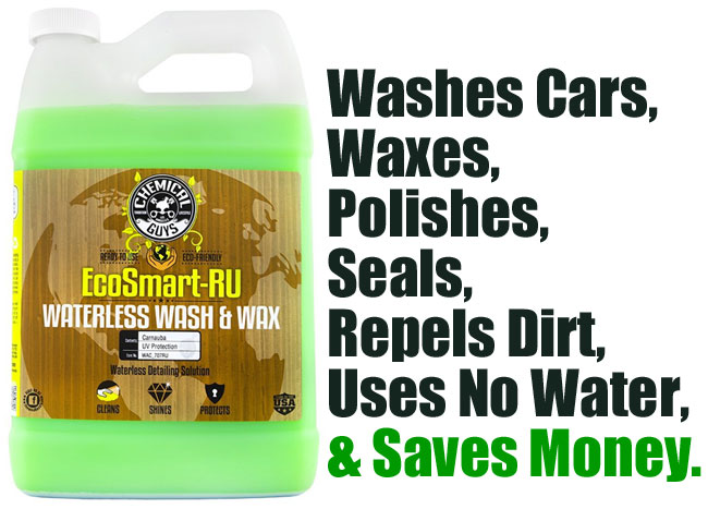 EcoSmart Waterless Car Wash Washes Cars, Waxes, Polishes, Seals, Repels Dirt, Uses No Water and Saves Money.