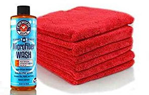 Microfiber Towel Detergent with Pile of Car Washing Towels